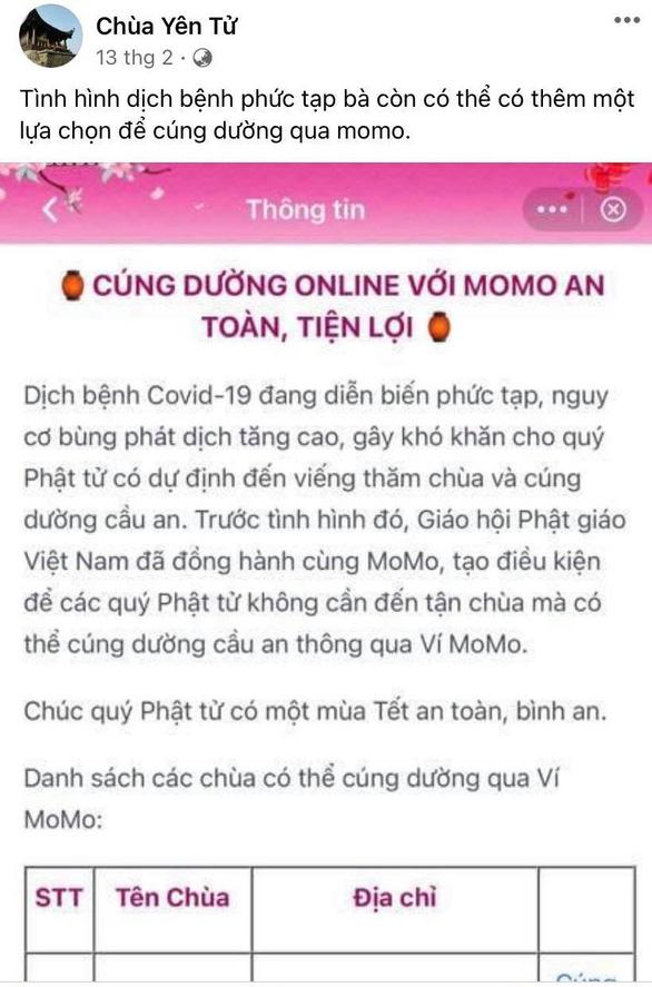 Giáo hội Phật giáo Việt Nam thử nghiệm cúng dường qua ví điện tử là thật, không phải giả mạo - Ảnh 1.