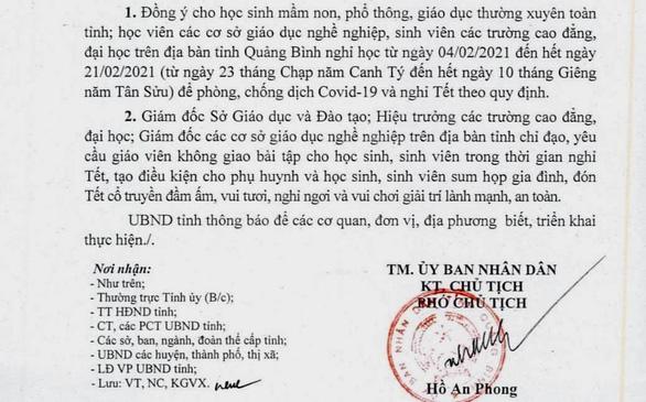 Quảng Bình cho học sinh nghỉ Tết sớm, không giao bài tập về nhà - Ảnh 1.
