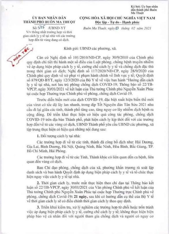 TP Buôn Ma Thuột đính chính văn bản, khẳng định không ngăn sông cấm chợ - Ảnh 1.