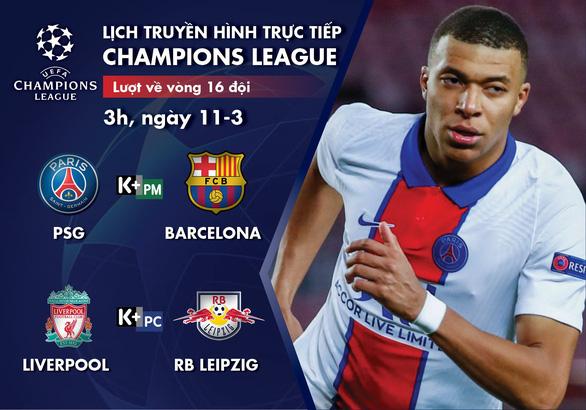 Lịch trực tiếp Champions League 11-3: PSG - Barca, Liverpool - Leipzig - Ảnh 1.