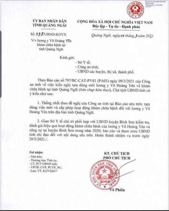 Quảng Ngãi chặn 'thần y' Võ Hoàng Yên về chữa bệnh cho người dân - Ảnh 1.