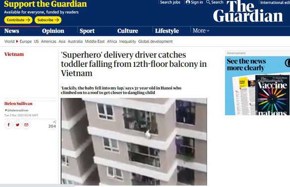 The Guardian: Tài xế siêu anh hùng, một loạt báo Trung Quốc đưa tin - Ảnh 1.