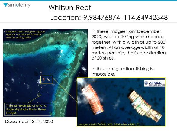 Ảnh vệ tinh tiết lộ số lượng lớn tàu Trung Quốc ở Đá Ba Đầu không đánh bắt cá - Ảnh 1.
