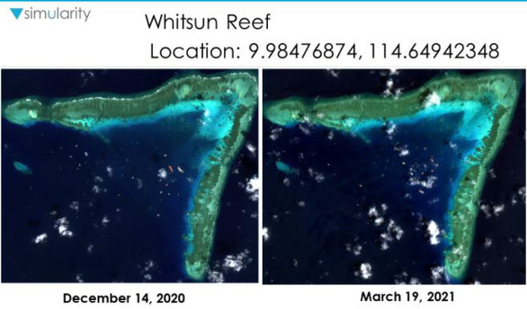 Ảnh vệ tinh tiết lộ số lượng lớn tàu Trung Quốc ở Đá Ba Đầu không đánh bắt cá - Ảnh 2.
