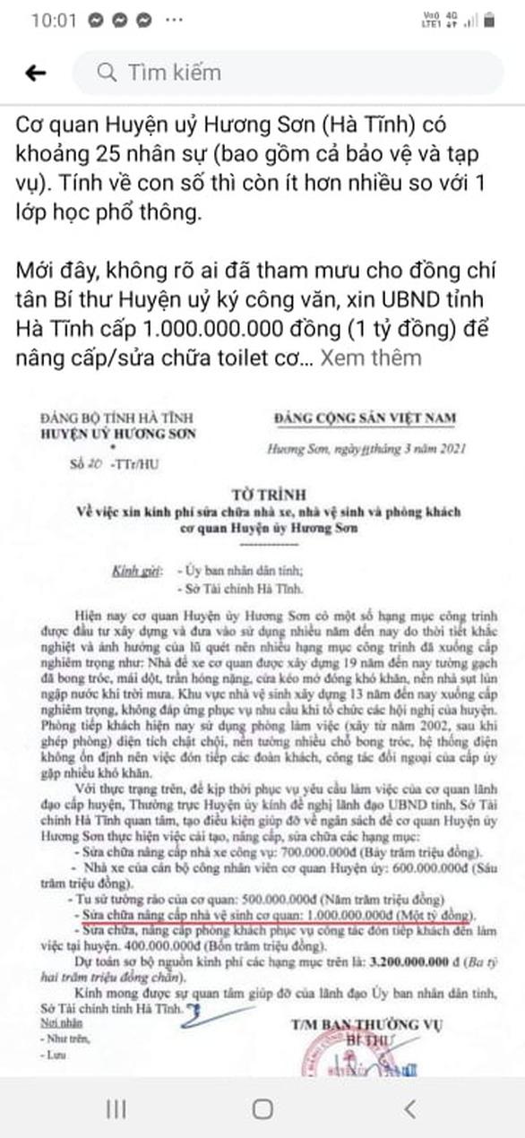 Thực hư chuyện huyện ủy 'xin' tỉnh Hà Tĩnh 1 tỉ đồng làm nhà vệ sinh - Ảnh 2.