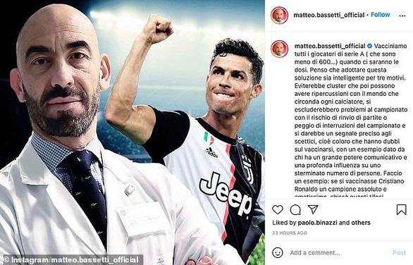 Điểm tin thể thao tối 3-3: Quan chức y tế kêu gọi Ronaldo xung phong tiêm vắc xin COVID-19 - Ảnh 1.