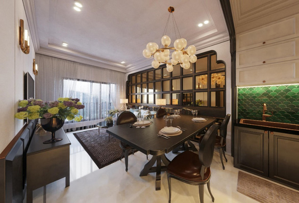 Phòng khách rộng thoáng được kết nối trực tiếp với khu bếp. Nhờ đó các thành viên trong gia đình có sự kết nối với nhau kể cả khi đang làm việc riêng.