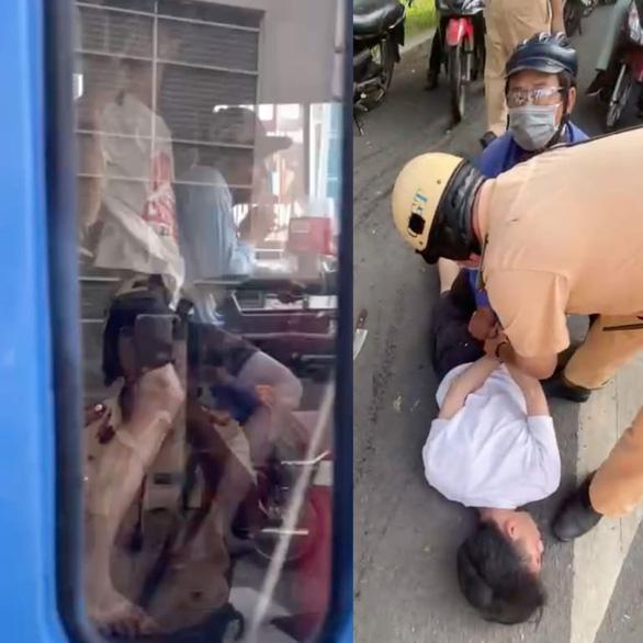 Gí dao kêu tài xế xe buýt chở đi miền Tây trốn gia đình, CSGT 2 đội Hàng Xanh, Bến Thành bắt gọn - Ảnh 1.