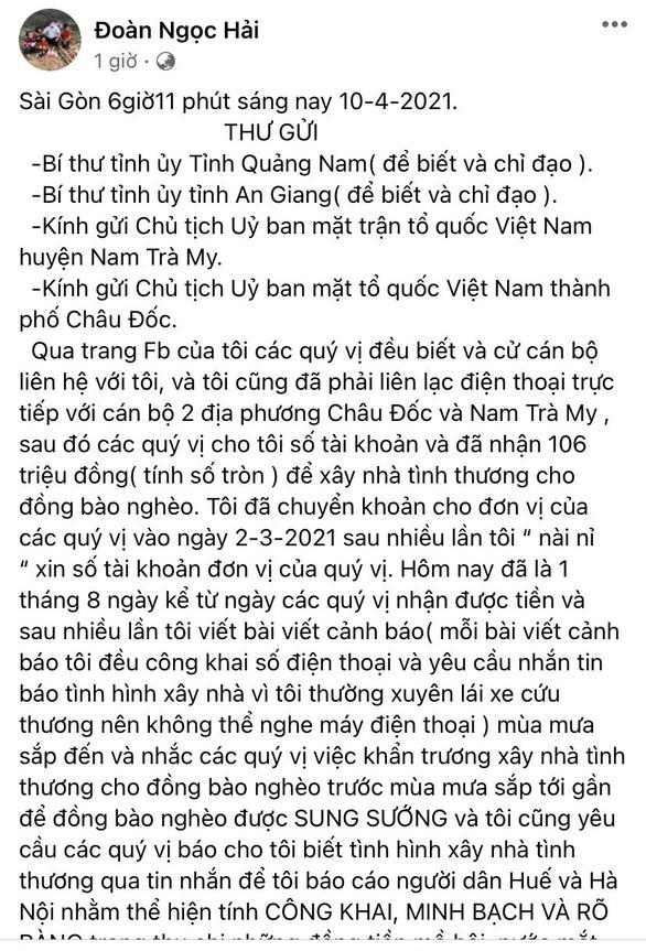 Ông Đoàn Ngọc Hải đòi lại tiền hỗ trợ xây nhà: Quảng Nam yêu cầu làm rõ - Ảnh 1.