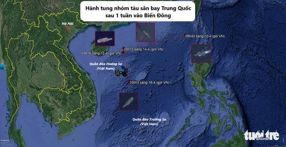 Tàu sân bay Trung Quốc tiến xuống nam Biển Đông - Ảnh 1.