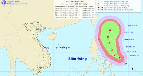 Yêu cầu các địa phương sẵn sàng ứng phó siêu bão Surigae rất nguy hiểm, mạnh cấp 17 - Ảnh 1.