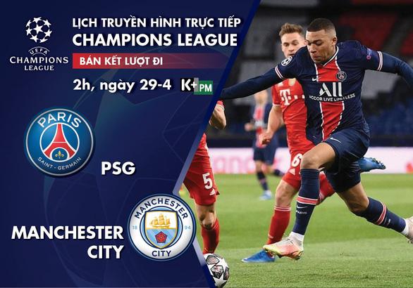 Lịch trực tiếp bán kết Champions League: Đại chiến PSG - Man City - Ảnh 1.