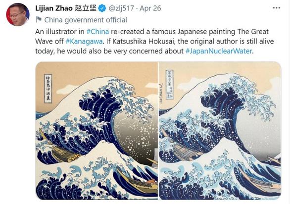 Trung - Nhật khẩu chiến vì ảnh chế vụ xả nước thải từ Fukushima - Ảnh 1.