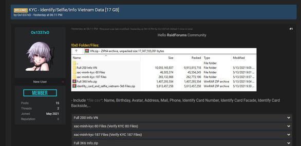 17GB thông tin CMND của người Việt bị rao bán trên mạng - Ảnh 1.