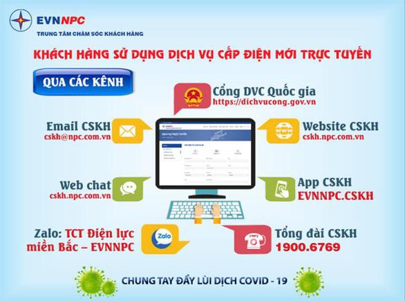 EVNNPC: Khách hàng sử dụng dịch vụ điện trực tuyến để phòng chống dịch COVID-19 - Ảnh 1.
