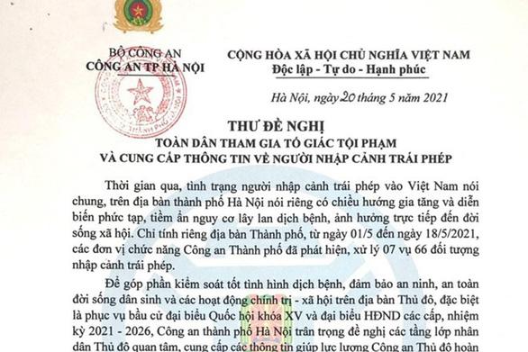 Giám đốc Công an Hà Nội đề nghị người dân tố giác người nhập cảnh trái phép - Ảnh 1.