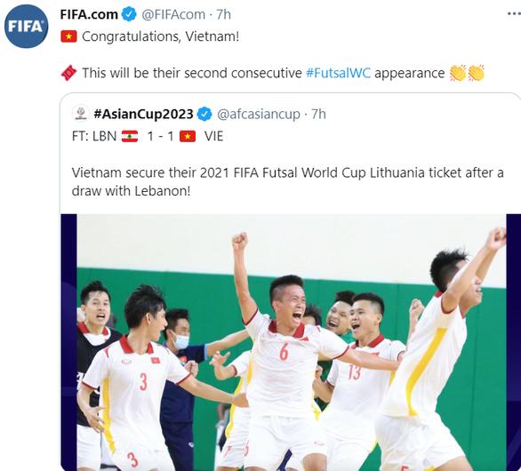FIFA chúc mừng futsal Việt Nam lần thứ hai góp mặt ở World Cup - Ảnh 1.