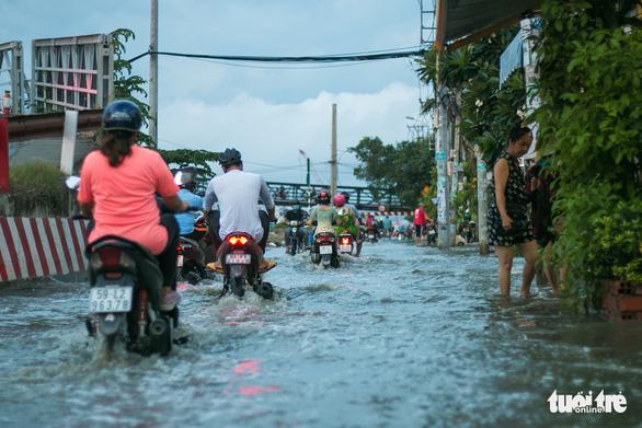 Không mưa, triều cường không lớn nhưng Mễ Cốc ở quận 8 vẫn ngập lênh láng - Ảnh 7.