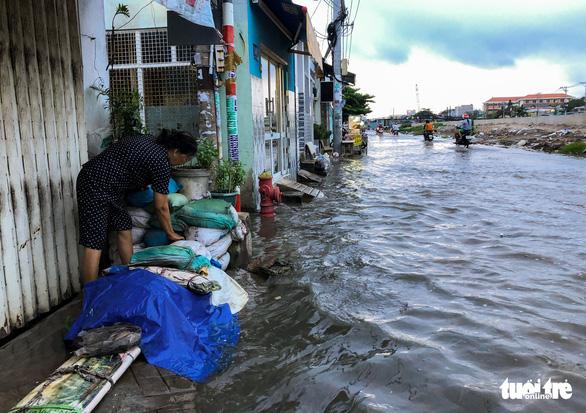 Không mưa, triều cường không lớn nhưng Mễ Cốc ở quận 8 vẫn ngập lênh láng - Ảnh 6.
