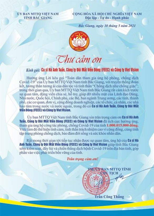 Hà Anh Tuấn và bạn bè trao 1 tỉ mua vật tư y tế cho tỉnh Bắc Giang - Ảnh 1.