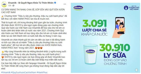 Chiến dịch online của Vinamilk góp thêm 31.000 ly sữa tặng trẻ em khó khăn - Ảnh 1.