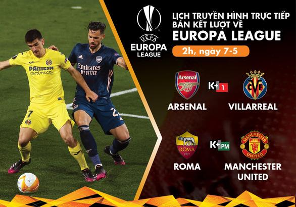 Lịch trực tiếp bán kết lượt về Europa League: Arsenal - Villarreal, Roma - Man United - Ảnh 1.