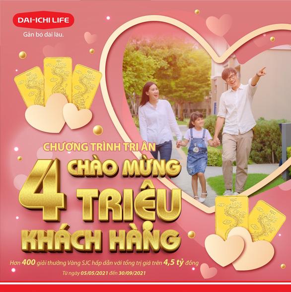 Mừng 4 triệu khách hàng, Dai-ichi Life Việt Nam tặng 400 giải thưởng vàng SJC 999.9 - Ảnh 1.