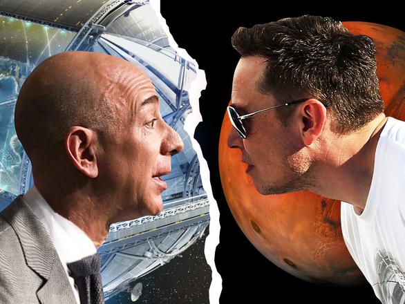 Elon Musk và Jeff Bezos cạnh tranh khốc liệt cuộc đua không gian - Ảnh 1.