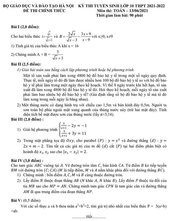 Gợi ý giải đề môn toán thi vào lớp 10 Hà Nội - Ảnh 1.