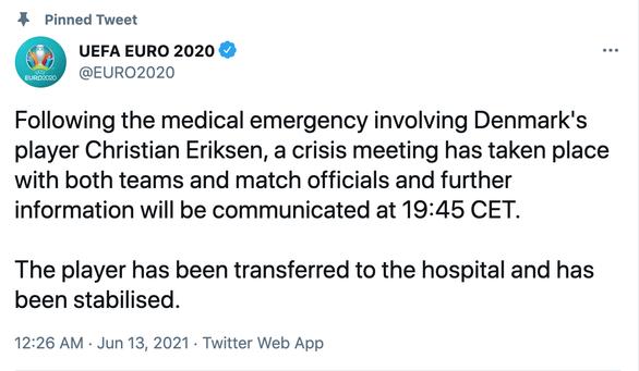 Eriksen mở mắt khi rời sân, UEFA xác nhận cầu thủ này đã ổn định - Ảnh 5.