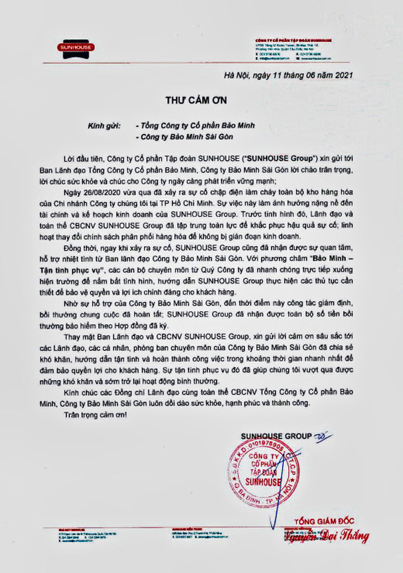 Bảo Minh chi trả bồi thường trên 43 tỉ đồng cho công ty Sunhouse miền Nam - Ảnh 1.