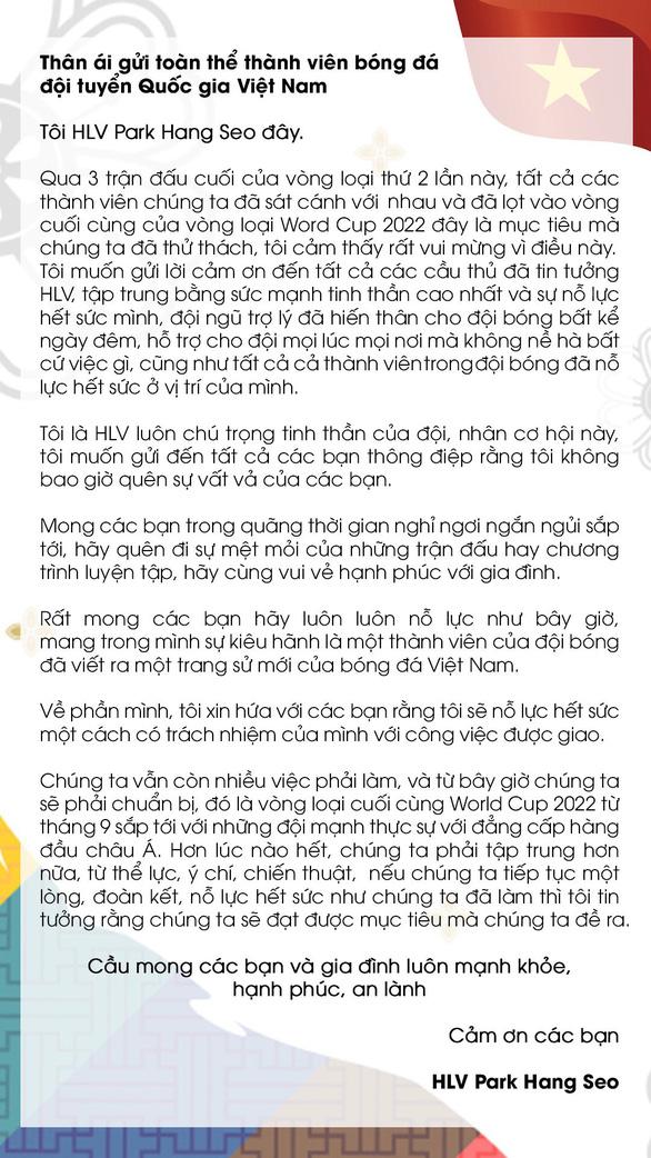 HLV Park Hang Seo viết tâm thư cho học trò: Tôi là HLV luôn chú trọng tinh thần của đội - Ảnh 2.