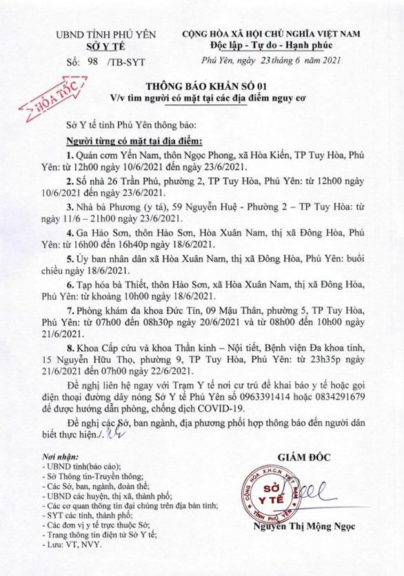 Bà chủ quán cơm dương tính, Phú Yên truy tìm khẩn cấp người đến 8 địa điểm - Ảnh 1.
