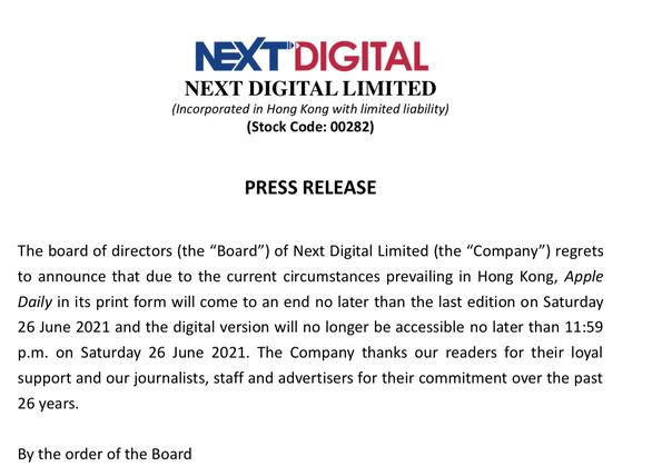 Báo Hong Kong Apple Daily chính thức thông báo ngừng xuất bản - Ảnh 1.
