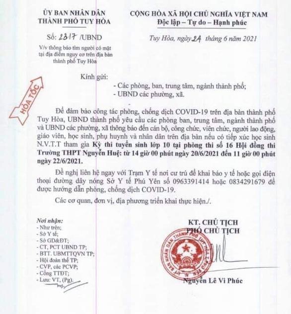 Phú Yên: Tìm người tiếp xúc một thí sinh đi thi lớp 10 là F1 - Ảnh 2.