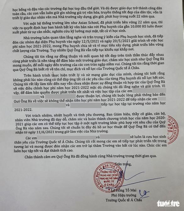 Phụ huynh phản đối học phí, Trường Quốc tế Á Châu cho học sinh thôi học - Ảnh 2.
