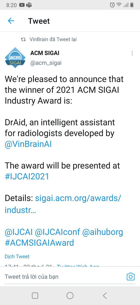VinBrain giành giải thưởng quốc tế Công nghiệp ACM SIGAI - Ảnh 1.