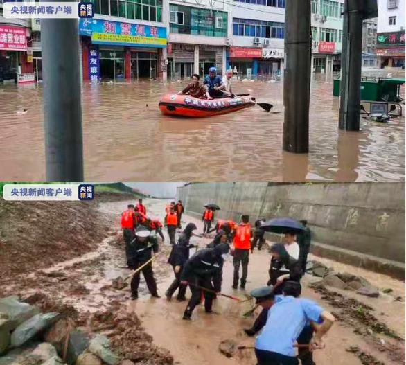 Mưa lớn gây ngập lụt ở Trung Quốc, tàu thuyền bị cuốn đi - Ảnh 2.