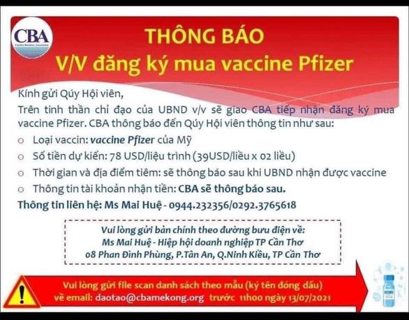 Doanh nghiệp ở Cần Thơ được đăng ký mua trực tiếp vắc xin Pfizer - Ảnh 1.