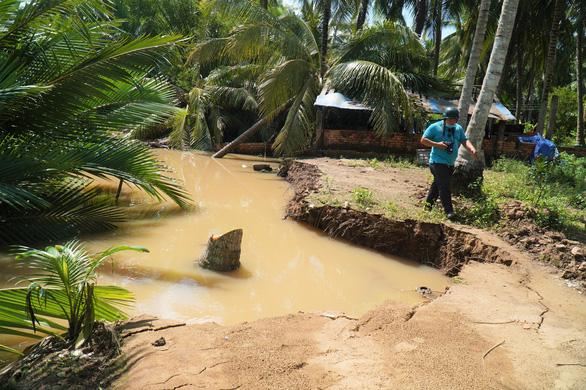 Sạt lở bờ sông, chuồng trại, cây cối bị nhấn chìm ở Bến Tre - Ảnh 3.
