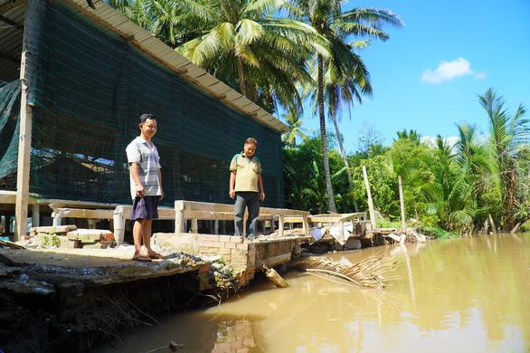 Sạt lở bờ sông, chuồng trại, cây cối bị nhấn chìm ở Bến Tre - Ảnh 1.