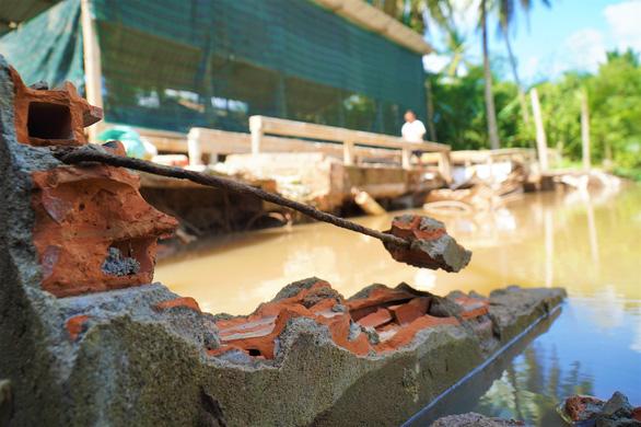 Sạt lở bờ sông, chuồng trại, cây cối bị nhấn chìm ở Bến Tre - Ảnh 4.