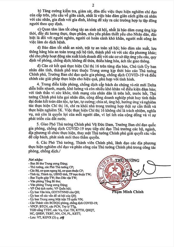 NÓNG: giãn cách theo chỉ thị 16 đối với 16 tỉnh thành phía Nam từ 0h ngày 19-7