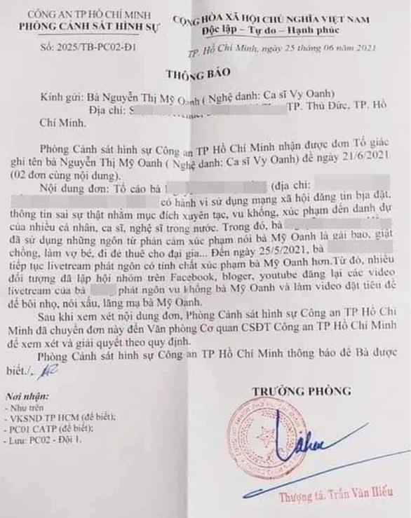 Ca sĩ Vy Oanh nộp đơn tố giác bà Nguyễn Phương Hằng vu khống, bôi nhọ danh dự - Ảnh 1.