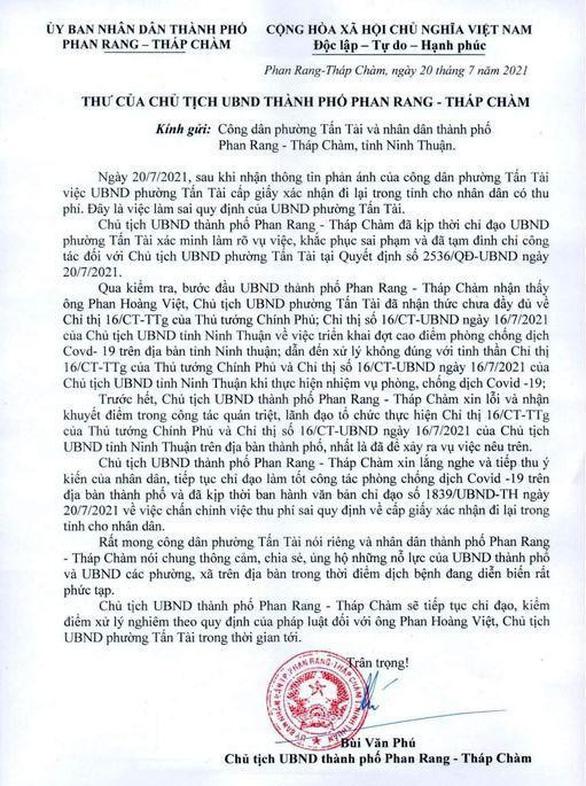 Chủ tịch Phan Rang - Tháp Chàm xin lỗi dân vì cấp dưới xử lý sai công vụ - Ảnh 1.