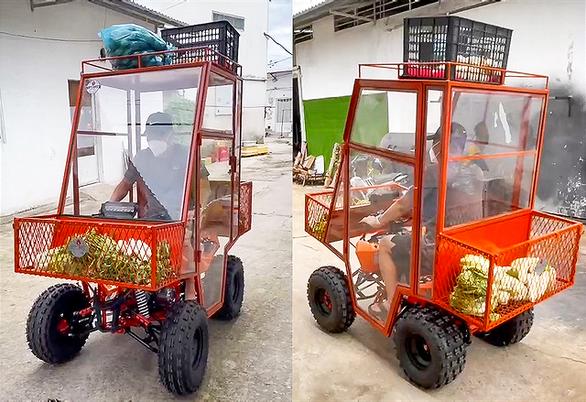 Chế tạo xe chống dịch mang thực phẩm đến với người dân phong tỏa - Ảnh 1.