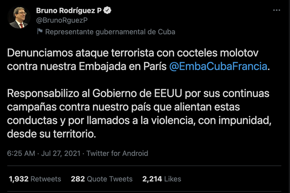 Đại sứ quán Cuba tại Paris bị tấn công bằng bom xăng - Ảnh 2.