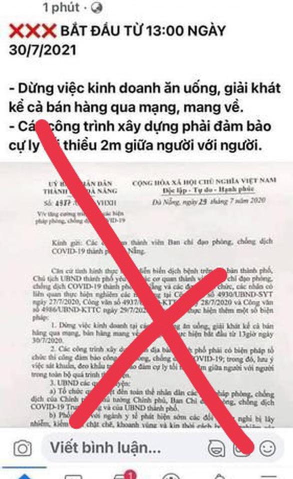 Xử phạt người đăng văn bản cũ, viết sai sự thật giãn cách toàn thành phố Đà Nẵng - Ảnh 2.