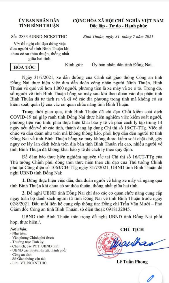 Bình Thuận đề nghị Đồng Nai dừng đưa cả ngàn người ngang qua tỉnh thiếu sự thỏa thuận - Ảnh 1.