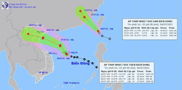 Hai áp thấp nhiệt đới đang hoạt động, một có thể thành bão hướng vào đất liền - Ảnh 1.
